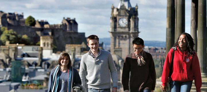 Students walking in the sunshine on Calton Hill