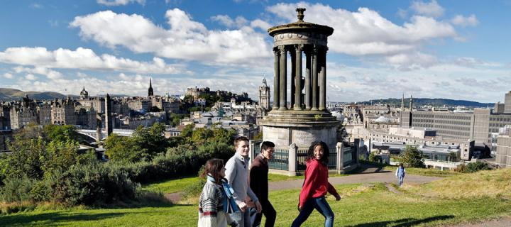Students walking on Calton Hill