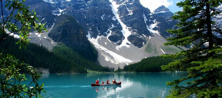Canoe on a lake in Canada