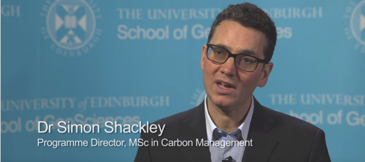 Screen of Simon Shackley in a video discussing the MSc Carbon Management
