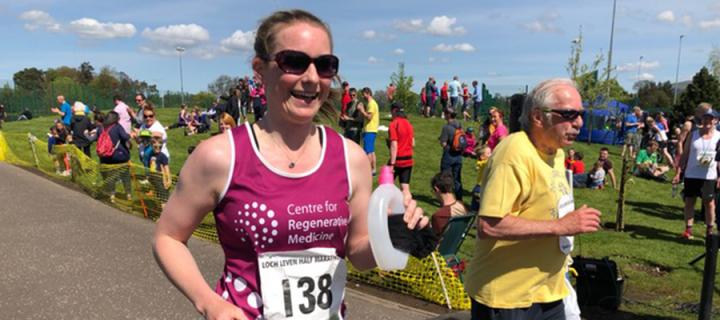 Catherine Robertson and her dad running a half marathon