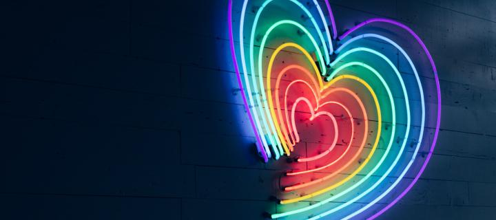 graphic showing heart lightbox in rainbow colours
