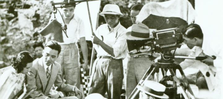 Film crew recording a Chinese silent film