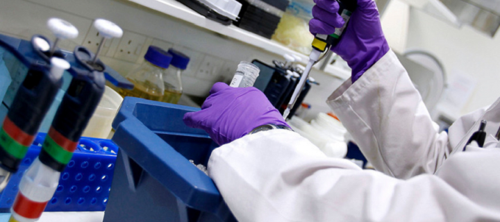 Image of a student pipetting