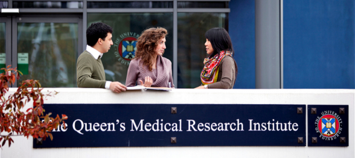 Image of students outside the Queens Medical Research Institue
