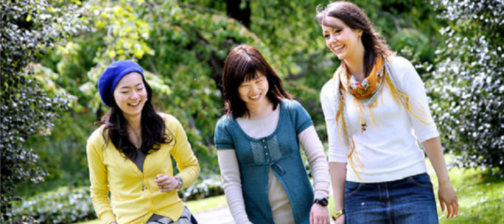 CIR students walking in a park