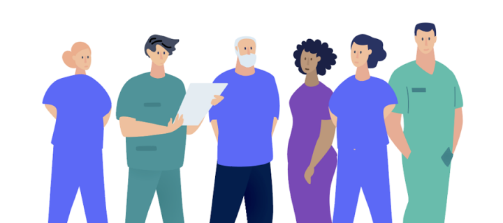 illustration of a team of vets and nurses