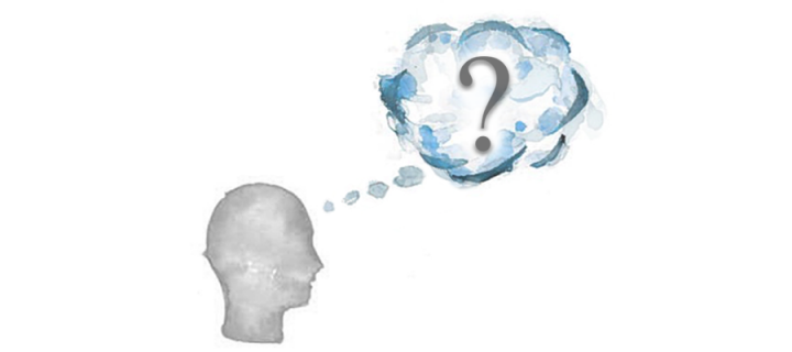 Silhouette of a person's head with a question mark inside the thought cloud coming from their head