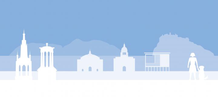 Community section image - silhouette of Edinburgh skyline with light blue background