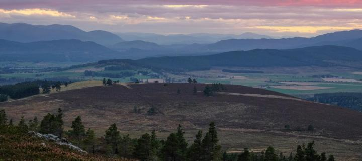 view of sunset in the Cairngorms