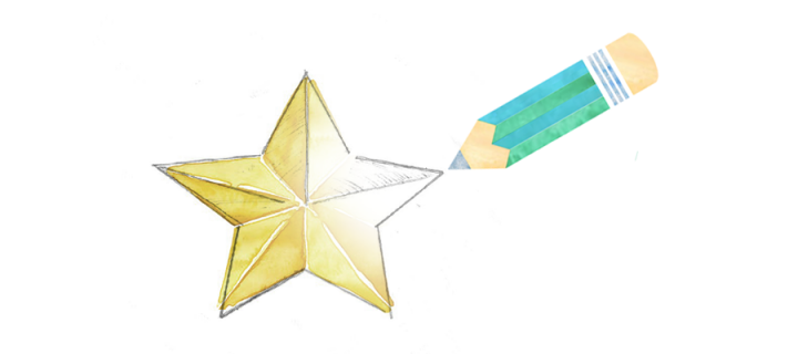 A pencil drawing a shining golden star