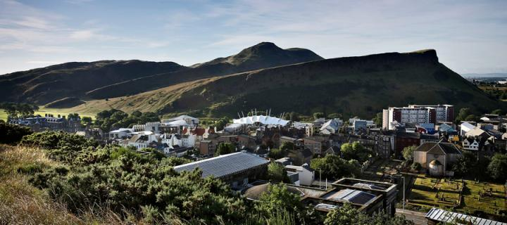 View of Arthur's seat and Dynamic Earth