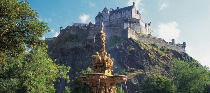 Edinburgh Castle seen from Princes Street gardens