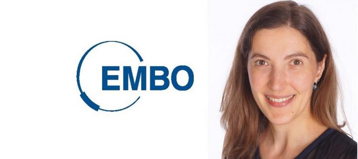 EMBO logo and Image of Dr Nathalie Rochefort who has been elected to the EMBO Investigator Programme