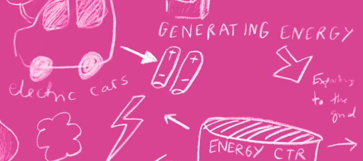 Pink lab energy illustration