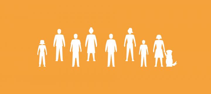 Public Engagement section image - people icons on orange background