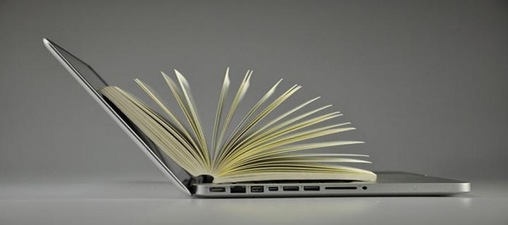 Image of a book inside a laptop