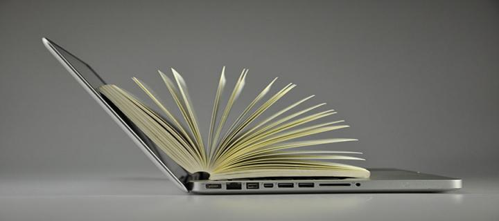 laptop and book