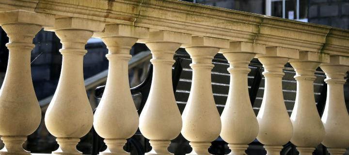 stone balustrade in Old College Quadrangle