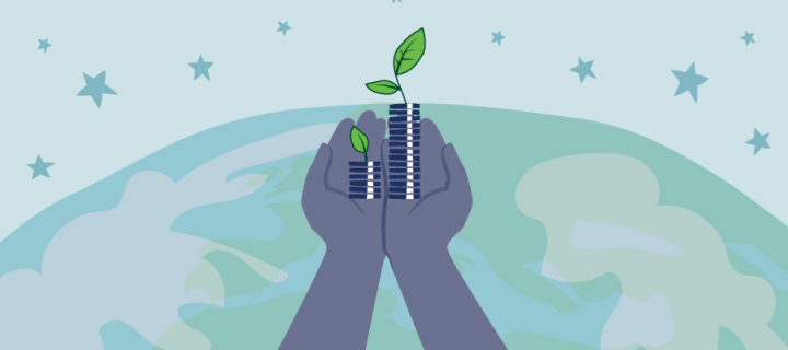 Responsible Investment: Who is your money funding? - hands holding money with seedling growing out and globe in the background
