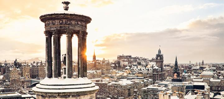 Edinburgh city scene with snow