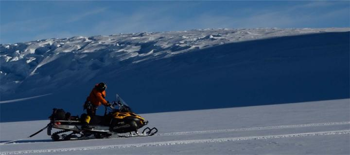 Andy Hein riding a skidoo