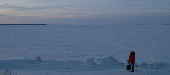 Fiona Gorrie on Frozen Lake Ontario - a 5 minute walk from the university campus.