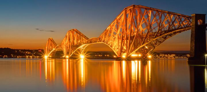 Photograph of Forth Rail Bridge at Night