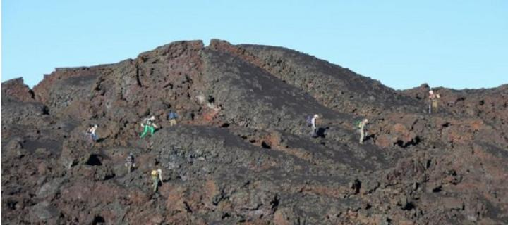 The team working on Sierra Negra's volcano prior to eruption during a visit to Isabela Island in April