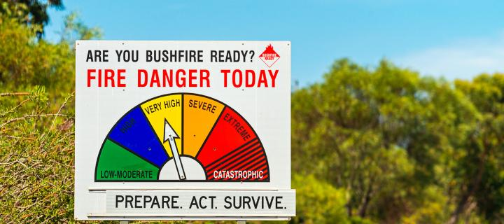 A bushfire warning sign in Australia