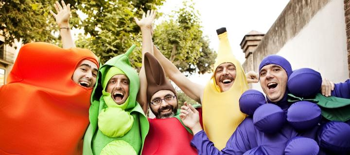 Men dressed up as fruit to raise money