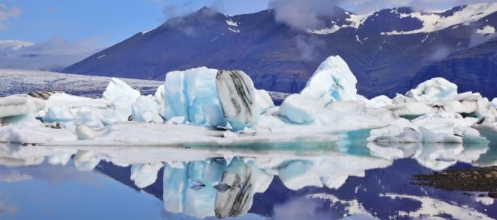 Glacier over water