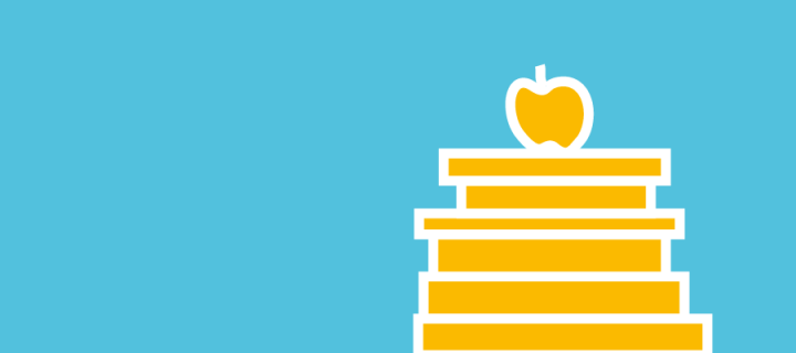 An illustration of an apple on top of books for Go Abroad, part of Edinburgh Global.