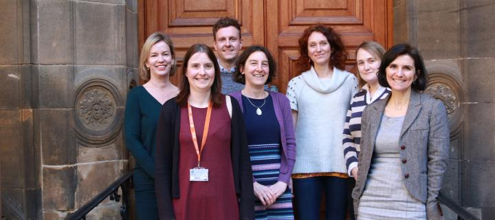 Picture of the MPH online programme team outside the Old Medical School, Edinburgh