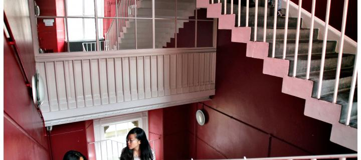 a flight of stairs in the school of health and social science