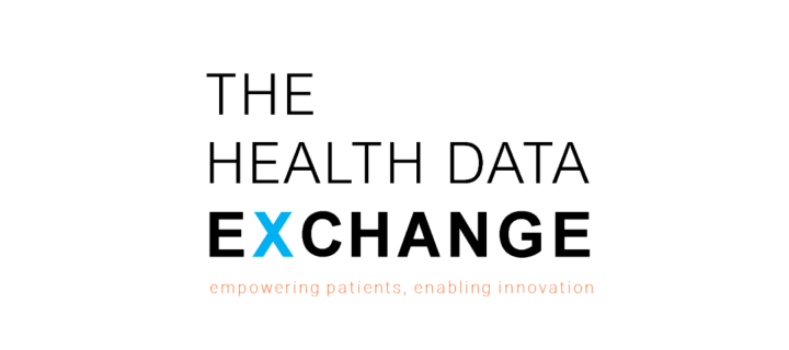 The health data exchange written in black on white background, stacked on top of each other, the X is in blue
