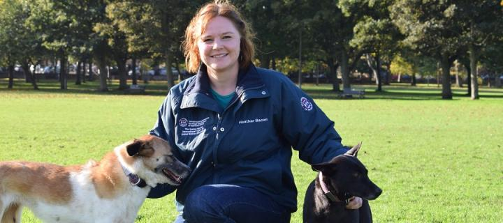 Heather Bacon with her rescued street dogs