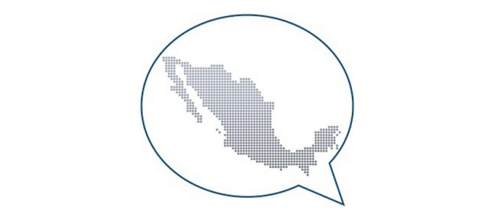 Map of mexico in a speech bubble