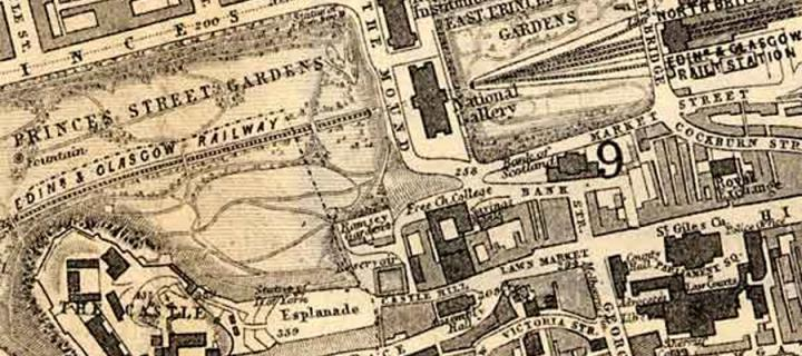 Old map of Edinburgh high street