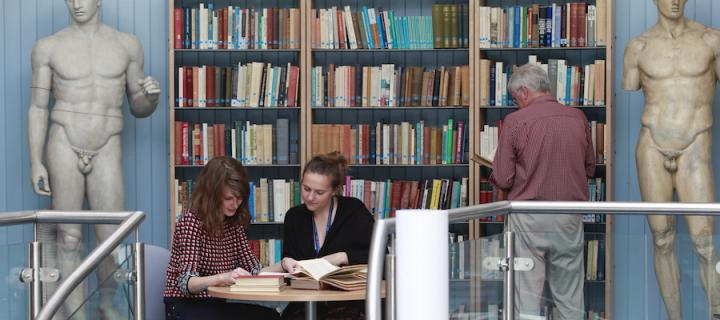Students studying in the research room