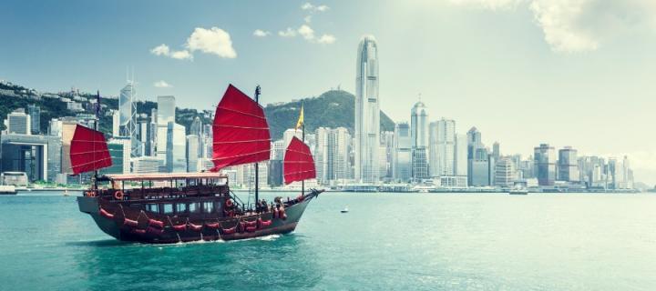 Hong Kong ship with red sails