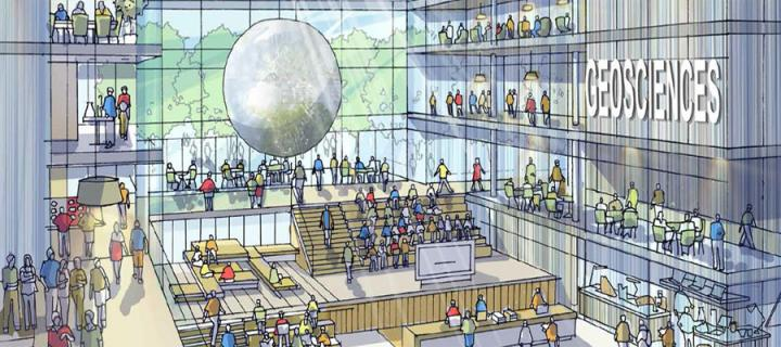 An artistic impression of the central hub for the proposed new GeoSciences building