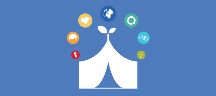 Sustainability Festival Hub icon: Tent with leaves growing out of the top, with sustainability icons surrounding it