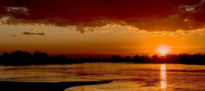 Sunset over a lake in Zambia