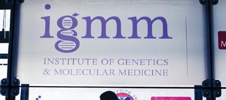 Sign saying igmm - Institute of Genetics & Molecular Medicine