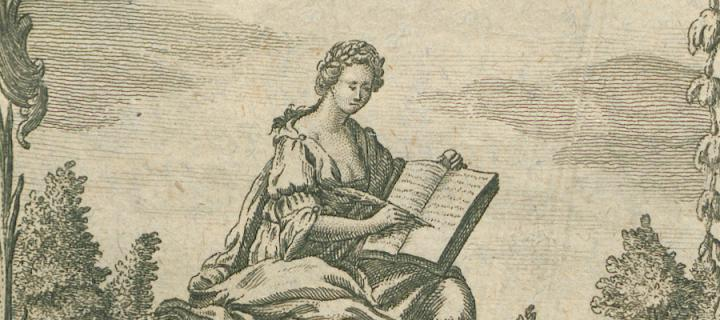 Drawing of a woman reading a book