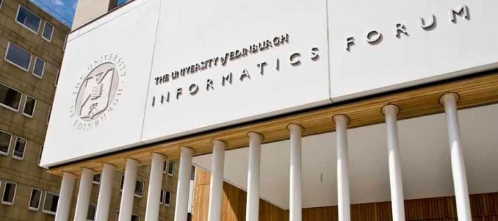 The entrance to the Informatics Forum on Crichton Street