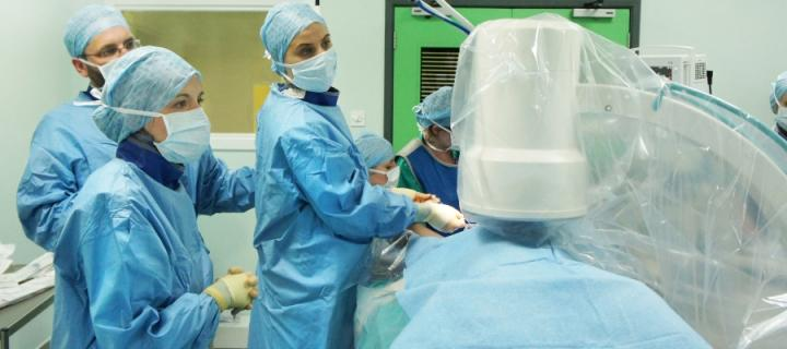 A surgery using interventional radiology equipment.