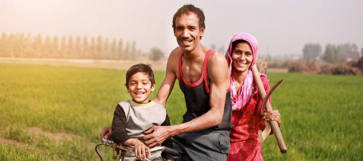 Asian family in farmland
