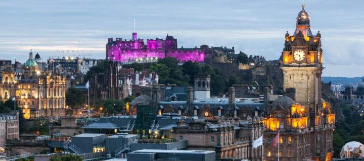 Edinburgh skyline purple Castle
